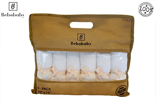 Toallas de bambú para bebés grandes de 10x10 pulgadas de BEBOBABY Toallas bambú orgánicas naturales algodón suave recién nacidos regalo registro Conjunto 6 toallitas baño reutilizables Bolsa única