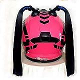 LALEO Coda di Cavallo Casco Parrucca per Casco Moto Rimovibile Tazza Aspirazione Motocicletta Bicicletta per Giovani Ragazze Donne Uomini 2 Pezzi,Nero