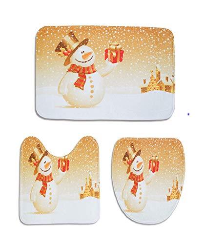 Vaycally 3 UNIDS/Juego alfombras baño Navidad Juego