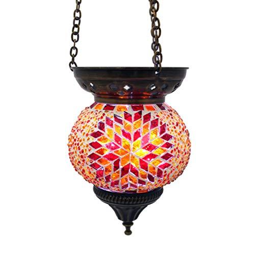 Mosaik Lampe Hängelampe Windlicht Pendelleuchte Aussenleuchte Deckenleuchte aus Glas Teelichthalter Orientalisch Handarbeit dekoration - Gall&Zick (Rot/orange)