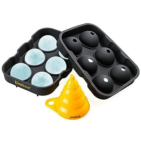 Deiss® ART Moule à glaçons et entonnoir pliable - 6 sphères de glace parfaites de 4.6 cm dans un bac en silicone souple - entonnoir pliable pour transfert de liquide - lavable au lave-vaisselle