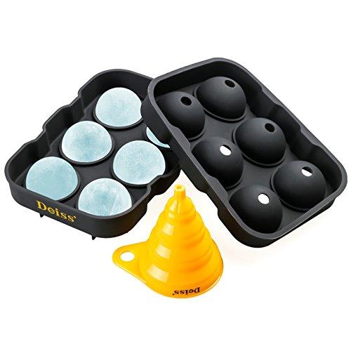 -Maker Schimmel & faltbare Trichter - 6 perfekt 4.6 cm Eiskugeln in flexiblem Silikon Fach - faltbare Trichter für flüssige Übertragung - spülmaschinengeeignet (Eis Am Stiel Cocktails)