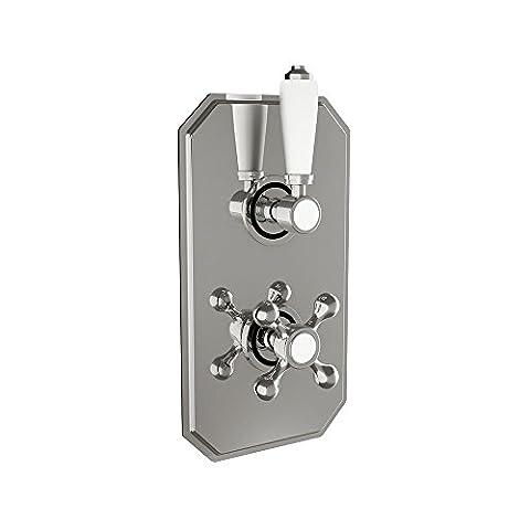 SCUDO style traditionnel Double robinet de douche thermostatique encastré avec inverseur de douche Les boutons 2composants Construction en laiton avec finition chromée