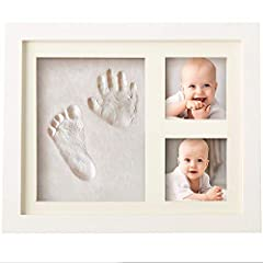 Idea Regalo - Cornice Impronte Bambino in Argilla, Cornice Impronte Neonato Set Impronte Bimbi, Kit Portafoto con Impronta della Manina e del Piedino del Bebè- Il regalo bimbo perfetto