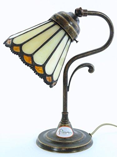 Lampe Messing brüniert Tisch, Schreibtisch, Lampen Nachttisch Jugendstil lmi3. Abmessungen: Höhe 27cm, Durchmesser Glas 13cm, Durchmesser Base 11,5cm. Die Abmessungen sind inklusive des Glas.Lampenfassung Edison E14(Kleine Fassung). (Glas Tisch-basen)