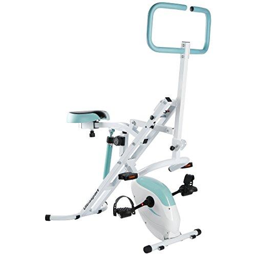 Ultrasport Hometrainer Horserider plus F-Bike, 2-in-1 Fitnessbike und Bauchtrainer in einem, Sportgerät, Ganzkörpertraining für Bauch Beine Po, Cardiotrainer, belastbar bis 110 kg, Blau