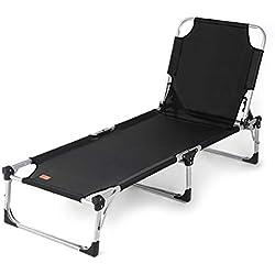 Sekey Chaise Longue Pliante, Bain de Soleil, Lit de Soleil, Transat de Jardin/Camping, Pliable Position Réglable/Inclinable. Capacité de Charge:150kg