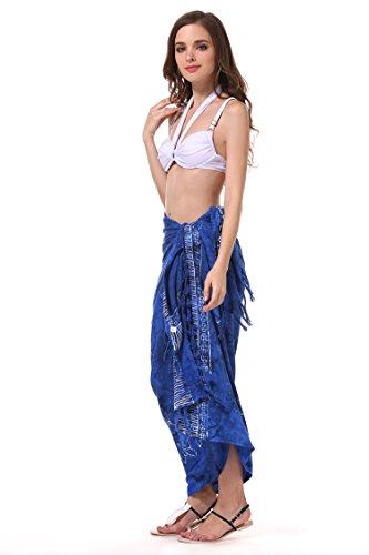 ManuMar Pareo/Telo mare, leggero, con frange, diverse misure, motivi e colori Dunkel-Blau Delfin