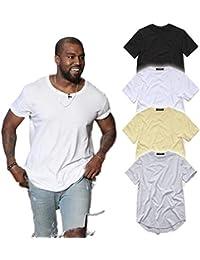 5c25443e7 INCLUDS Men s T Shirt Kanye West Extended T Shirt Men Clothing Curved Hem  Long line
