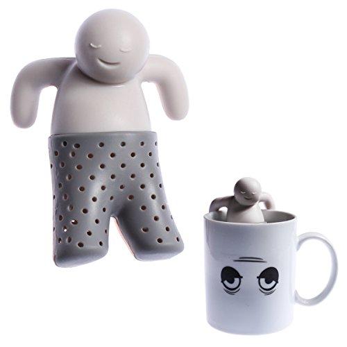 Wortek colino da tè mr. tea teaman tee maennchen preparazione di tè infusore di tè filtro grigio silicone riutilizzabile (per alimenti, inodore, lavabile in lavastoviglie)