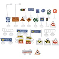 perfeclan 9/28pcs Juguete de Señales de Tráfico de Vehículos Plástico Simulación de Escena de Modelismo Niños - 28pcs- #B