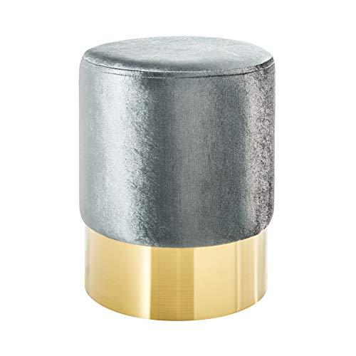 Riess Ambiente Eleganter Sitzhocker MODERN BAROCK SAMT Silber Gold Couchtisch Fußhocker Hocker...