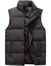 KINDOYO Invierno Moda Chaleco para Hombre de Pluma Sin mangas Plumón Chaqueta Ligera Capa chaqueta abajo