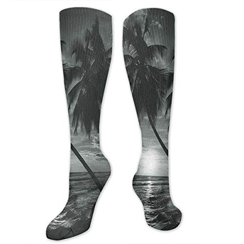 VVIANS Personalized Compression Socks,Coconut Palm Trees On Beach Bend By The Wind Horizon Over The Sea Picture,Best Medical,for Running,Hiking,Varicose Veins,Circulation & Recovery