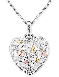 Engelsrufer Herzförmiger Baum des Lebens Kette mit Anhänger für Damen Tricolor Rhodiniert Gelbvergoldet Rosévergoldet 925er-Sterlingsilber Länge 50 cm