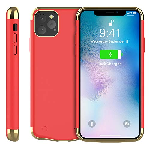 Rngqun Akku Hülle für iPhone Xis Max 6.5 Inch, Extra 6000mAh Wiederaufladbarer Protable Charge Batteriefach Handyhülle Backup Schützend Schutzhüllen Kompatibel iPhone Xis Max 6.5, Red -