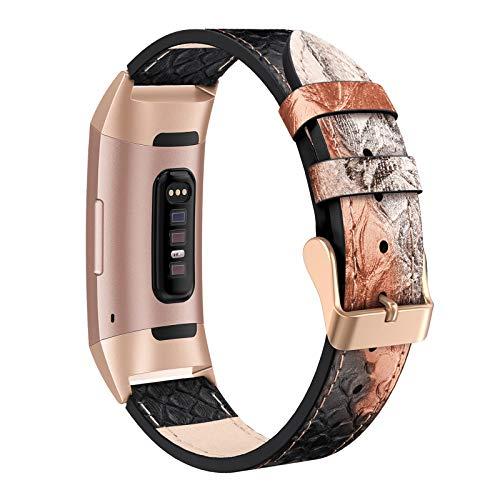 SWEES Lederarmbänder kompatibel Fitbit Charge 3 & Charge 3 SE Fitness-Tracker, Echtleder, Ersatz für Damen und Herren, klein & groß, Schwarz, Roségold, Beige, Braun, Grau, Hellbraun