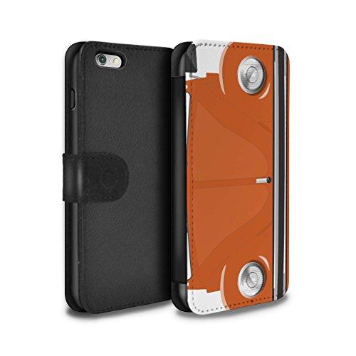 Stuff4 Coque/Etui/Housse Cuir PU Case/Cover pour Apple iPhone 6+/Plus 5.5 / Rayures Course Design / Rétro Coccinelle Collection Orange Vif