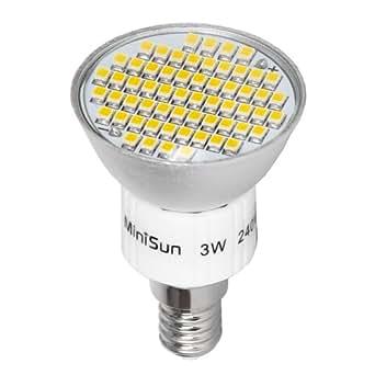 MiniSun Branded 3W Super Bright SES E14 LED Bulb with 60 x 3527 SMD LEDs - 400 Lumens - Warm White