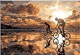 KGHHJ Pittura Digitale Fai da Te Dipinto a Mano Amore Romantico Decorazione Pittura Bicicletta Giovanile Soggiorno Studio Decorazione Pittura Pittura a Olio