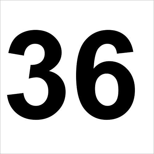 """Preisvergleich Produktbild 3 mal Nummer """"36 """" hochwertige Zahlenaufkleber, schwarz, wetterfeste, 10 cm hoch, aus Hochleistungsfolie, ohne Hintergrund, Zahlen, Nummer, Mülltonne,Mülltonnen, Uahlenaufkleber, Hausnummer, Briefkasten, Aufkleber"""