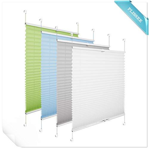 Allesin tenda plissettata veneziane tendine finestre 40 x 130 cm grigio chiaro senza fori tessuto traslucido
