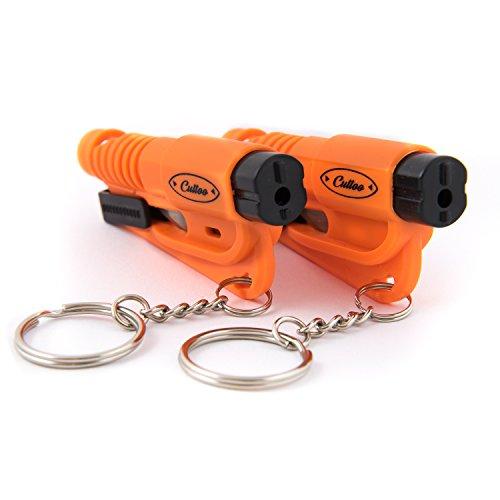 Praktisches Notfallwerkzeug als Schlüsselanhänger 3in1 - 2-er Set - orange, leuchtend - Rettungstool - Retten Sie sich aus heiklen Situationen im Auto. Machen Sie Lärm - schneiden Sie den Gurt durch und zerschlagen Sie die Scheibe! Helfen Sie sich selbst. (Auto-rescue-tool)