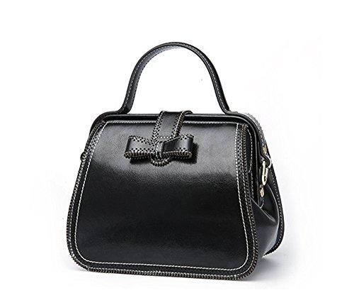 Xinmaoyuan Handtaschen der Frauen Sommer Handtasche Mode Retro Wind Lock Schnalle Rindsleder Multi-Color Tragbares ein Schulter Messenger Bag Arzt Pack, Schwarz Schwarz