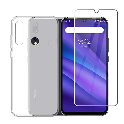 LJSM Hülle für UMIDIGI A5 Pro + Panzerglas Bildschirmschutzfolie Schutzfolie - Semi-Transparent Weich Silikon Schutzhülle Crystal Flexibel TPU Tasche Case für UMIDIGI A5 Pro (6.3