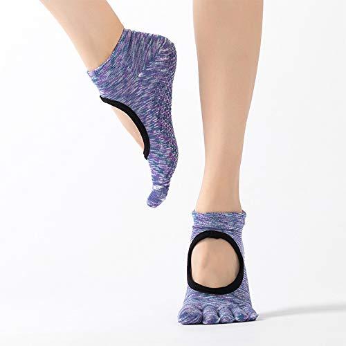CAMORNY Yoga Socken Damen rutschfeste Fitness Socken Fünf Zehen Socken Ballett Pilates Sport Tanz Schwangere Frauen Socken Hausschuhe Socken Trampolin Baumwolle Sportsocken 4 Paar,e - Greifer Zehen-socken