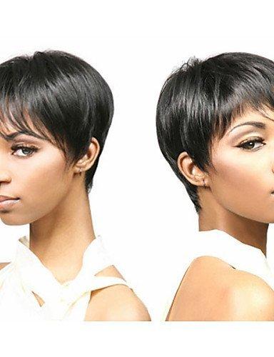 Mode kurze glatte Haare schwarz Afroamerikaner Perücken für Frauen (Haar Medusa Halloween)