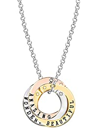 Lily & Lotty Scripted Personal 3 Colour Diamond Accent Necklace