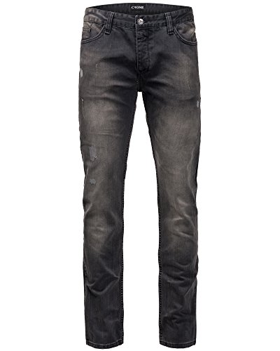 "Crone Herren Slim Fit Black ""Busted"" Jeans Hose Neu Men Pants New Used Look Vintage Biker"