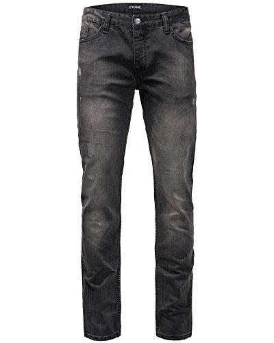 Crone Herren Biker Jeans Hose Slim Fit Limited Edition Vintage Used Look (28, Busted) (Vintage Jeans-jeans Cut Designer)