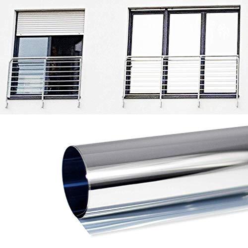 SolarScreen 6,10€/m² Spiegelfolie Silber Selbstklebend Laufmeterware mit 1,22m Breite Sichtschutz Folie für Fenster Blickdichte Sonnenschutzfolie Wärmeisolierung