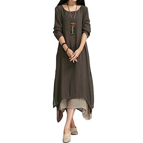 Sidiou Group Damen Baumwoll Leinen Vintage Kleid Split Unregelmäßigen Saum Casual Loose Boho Lange Plus Size Maxi Kleider (M, Kaffee)