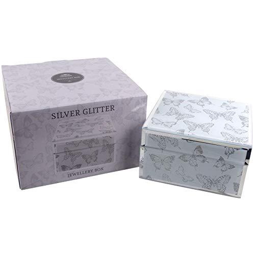 The Leonardo Collection Quadratisches Schmuckkästchen, verspiegelt Schmuck Schmetterlinge Geschenk Box Glas Glitzer -