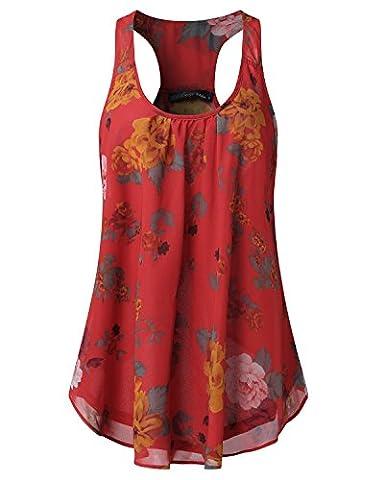 Auxo Women Loose Chiffon Floral Print Sleeveless Racer Flounce Summer Casual Vest Tank Tops Red M