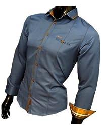 Herren Slim Fit Hemd jeans optik herrenhemd