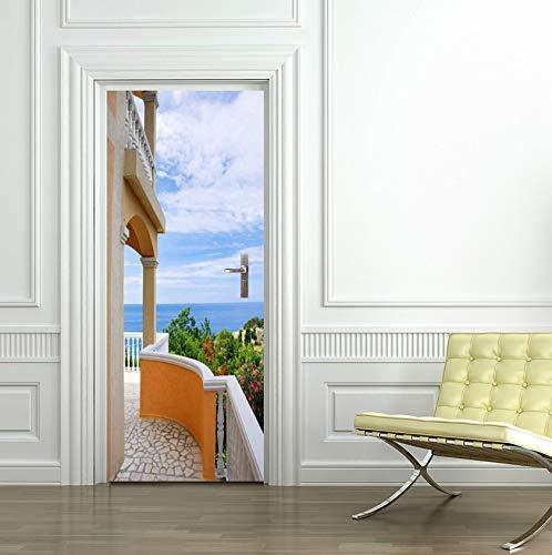 Jushuyin 3D Villa Tür Wandaufkleber Schlafzimmer Wohnkultur Poster Pvc Wasserdichte Tür Aufkleber 77X200 Cm