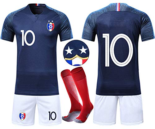 OUJD Ensembles de Sport Maillot de Football Enfant Coupe du Monde Maillot Football France 2 étoiles Suit de Football et Chaussettes