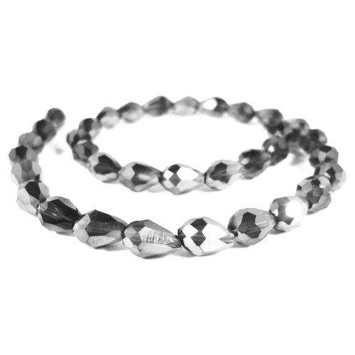 Filo 50+ Argento Cristallo Ceco 6 x 8mm Briolette Liscio Sfaccettato Perline - (GC12387-1) - Charming Beads