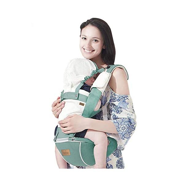 Bebamour Hipseat Baby Carrier Backpack 5 in 1 Carry Ways Carrier Sling (Light Green) bebear ▲VIDEO --- Know more details by YOUTUBE by searching 'Bebamour Baby Carrier Hipseat'. Gift-Box Packaged. Bebamour offer 90 days money back Guarantee! Quality problems with our baby carrier occur within this period will be offered a replacement. ✔ PROMISED QUALITY AND FABRIC - The baby carrier is made with 100% polyester with breathable cotton make baby feel comfortable and cozy. (If you have any questions in using baby carrier, pls don't hesitate to contact us. ✔ ERGONOMIC DESIGNED - Although it is a baby carrier hipseat, it also is designed according to baby's growth. Suit for baby who is 3-36 months and whose capacity is between 0-33lbs (14.9KG). 1