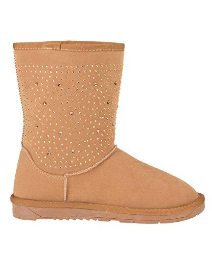 Schlupfstiefel bottes d'hiver pour femme avec strass plusieurs couleurs et doublure en peluche tailles 36–42 - Camel