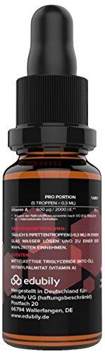 Vitamin A Tropfen als Retinol • 400 I.E. Retinylpalmitat pro Tropfen - 2000 I.E. pro Tagesdosis • In MCT-Öl gelöst • 620 Tropfen • Allergenfrei • Vegan • Mit Pipette -