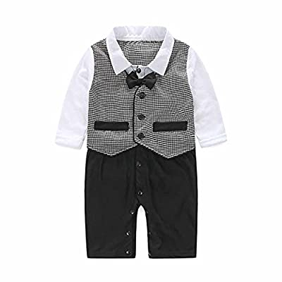 Baby Romper Boy Gentlemen Bowtie Suit Long Sleeve Formal Party Wedding Tuxedo Waistcoat Clothes for 0-24 Months : everything five pounds (or less!)