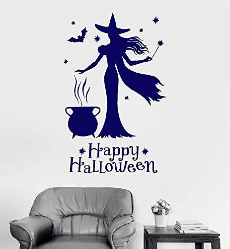 fenshop Vinyl Wand Applikation Happy Halloween Hexe Magie Hexerei Aufkleber Zuhause Wohnzimmer Urlaub Wandtattoos Dekoration 42x66cm
