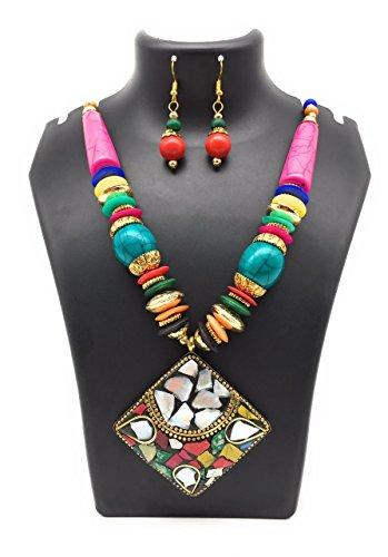 Satyam Kraft Tibatian Colourful Beaded Raisin Necklace Earring Set Navratri Jewellery for her/diwali gift/birthday gift/garba accessory/necklace for girls/necklace for women/gift/navratri accessory