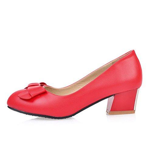 AgooLar Femme à Talon Correct Couleur Unie Tire Matière Souple Rond Chaussures Légeres Rouge