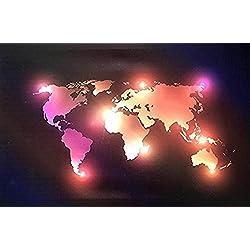 Tableau murale lumineux inspirant en toile éclairage LED pour la maison, salon, bureau (Carte du monde)